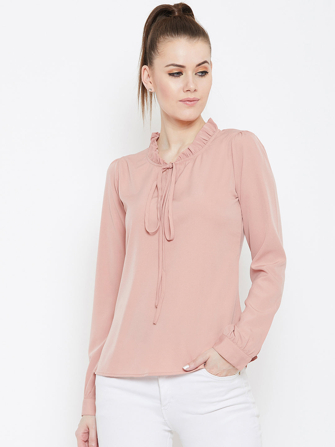 Berrylush Women Peach-Coloured Solid Top