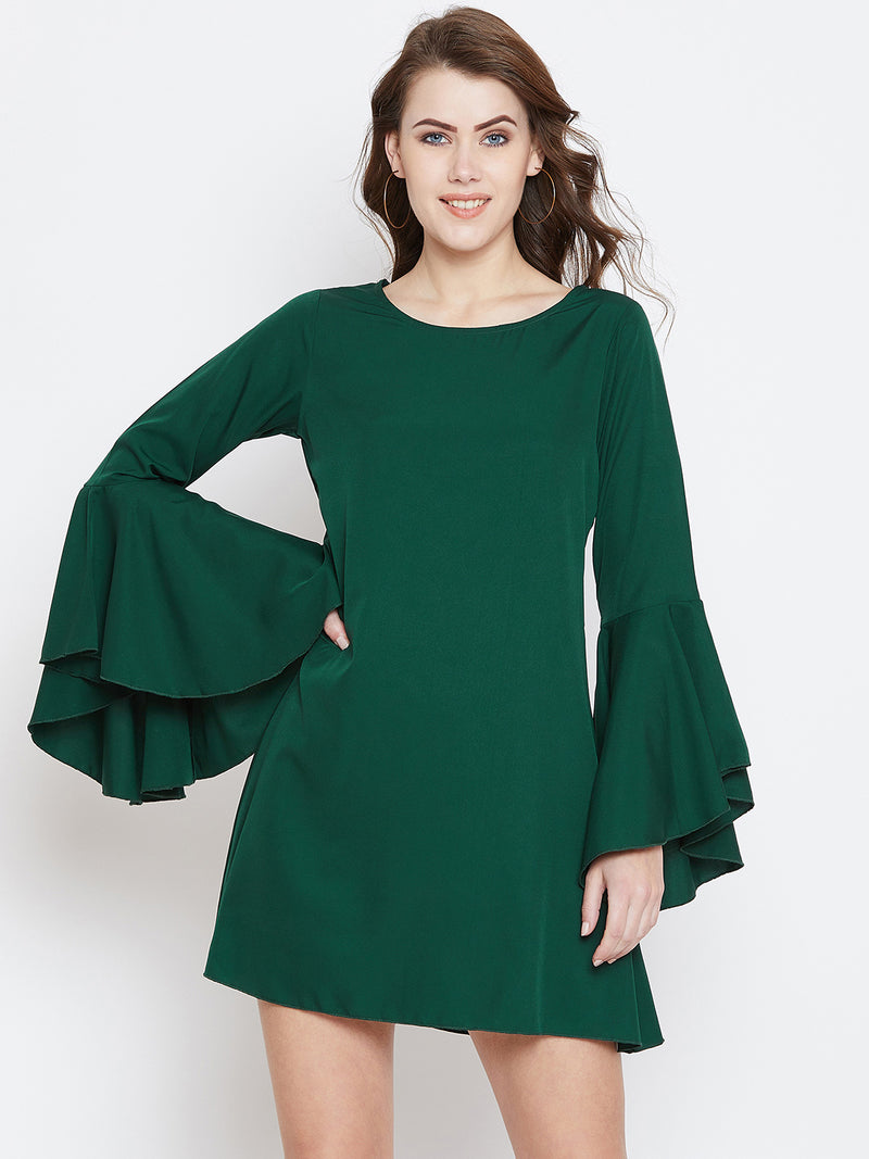 Green Solid A-Line Dress - Berrylush