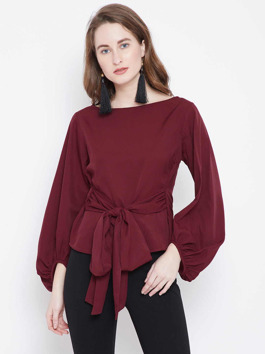 Maroon Solid A-Line Top