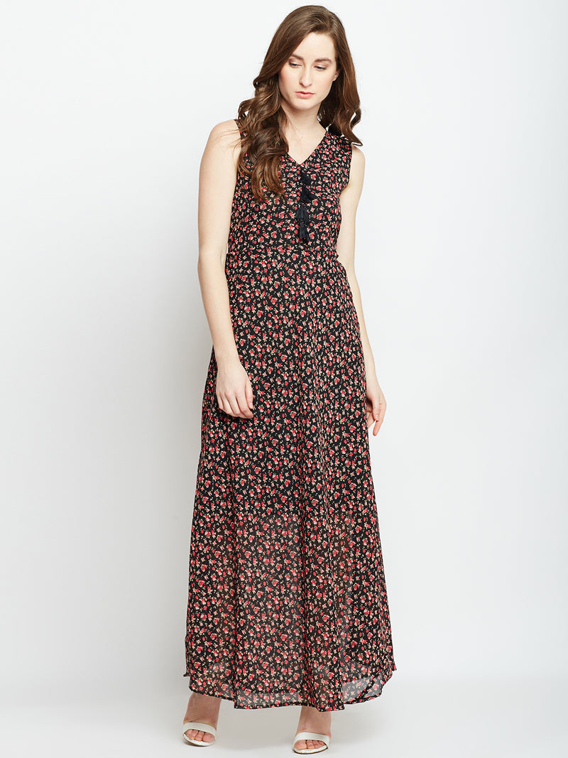 Berrylush Women Black & Red Printed Maxi Dress