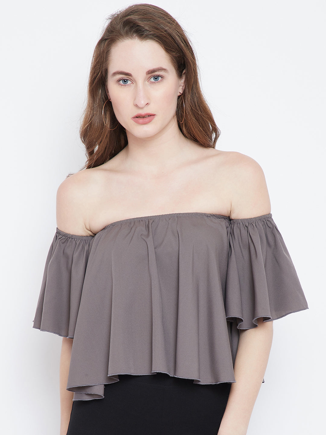 Berrylush Grey Solid Bardot Top