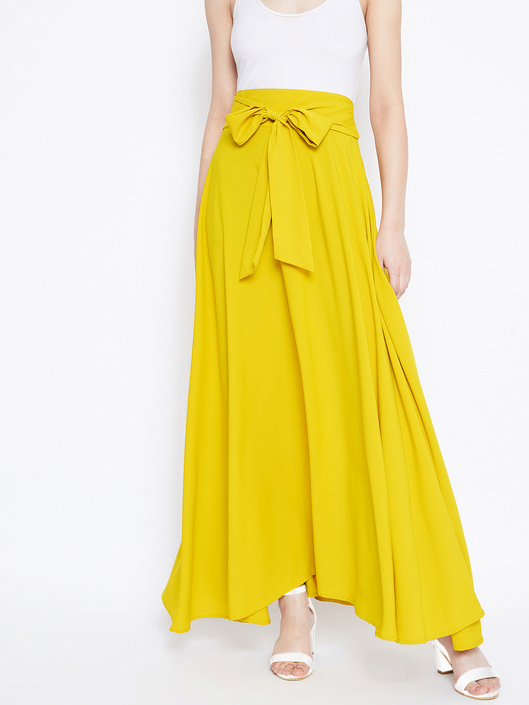 Berrylush Women Yellow Solid Flared Maxi Skirt