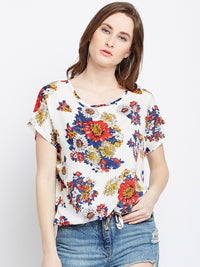 Calico Print Drawstring Top
