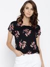 Black Printed Top - Berrylush