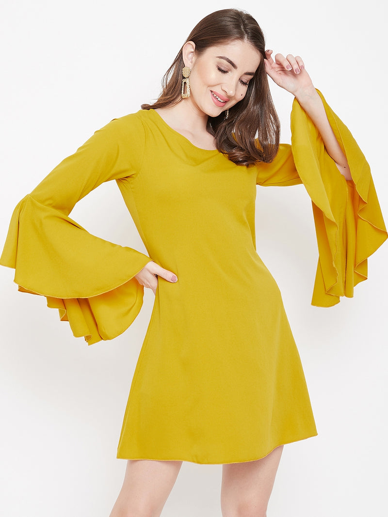 Berrylush Women Yellow A-line Peplum Sleeve Dress