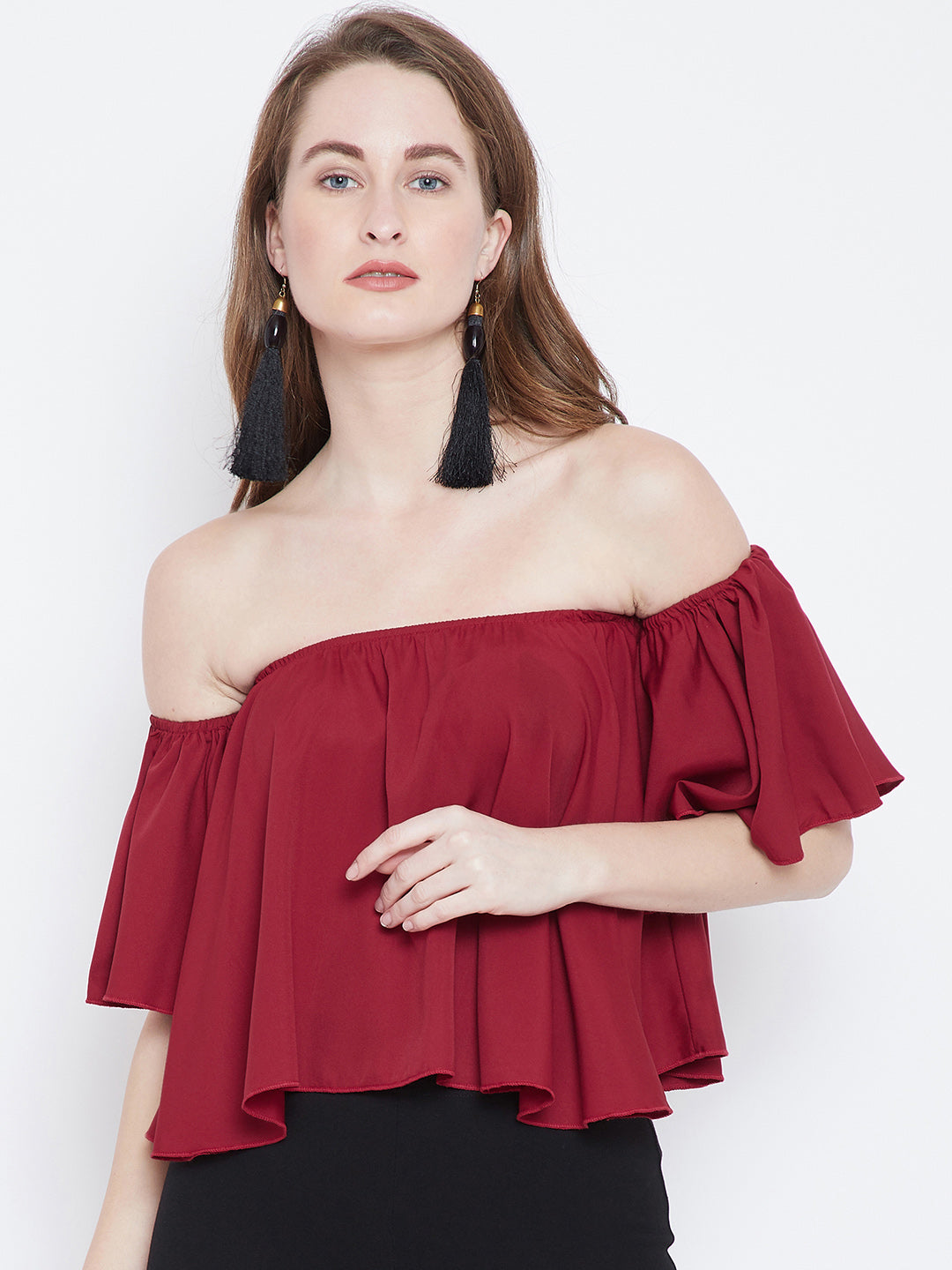 Berrylush Red Solid Bardot Top