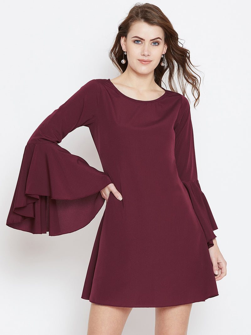 Maroon Solid A-Line Dress