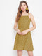 Berrylush Women Yellow With Black Spots Shoulder-Strap Dress