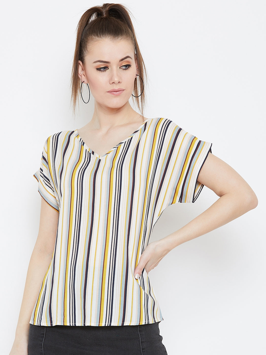 Multicolor strip v neck top