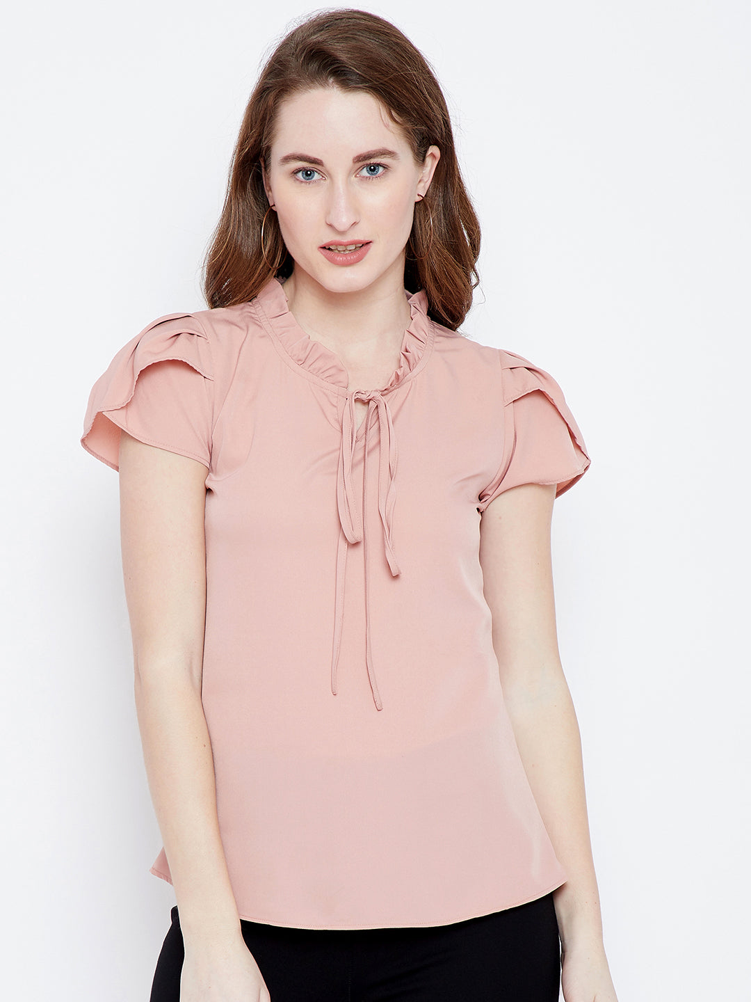 Berrylush Women Peach Solid Top