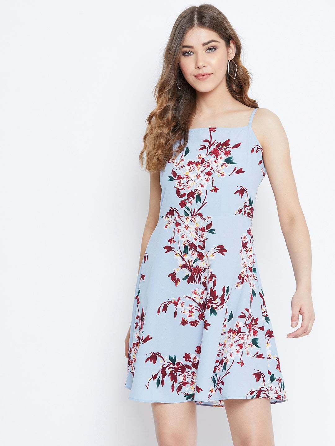 Berrylush Women Blue Printed A-Line Dress