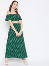 Berrylush Women Green & White Polka Dots Two-Piece Dress