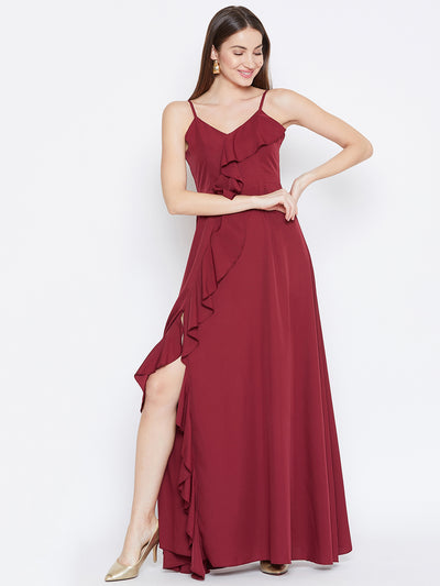 Berrylush Women Maroon Solid Ruffled Maxi Dress