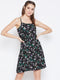 Berrylush Women Black Floral Printed Fit and Flare Dress
