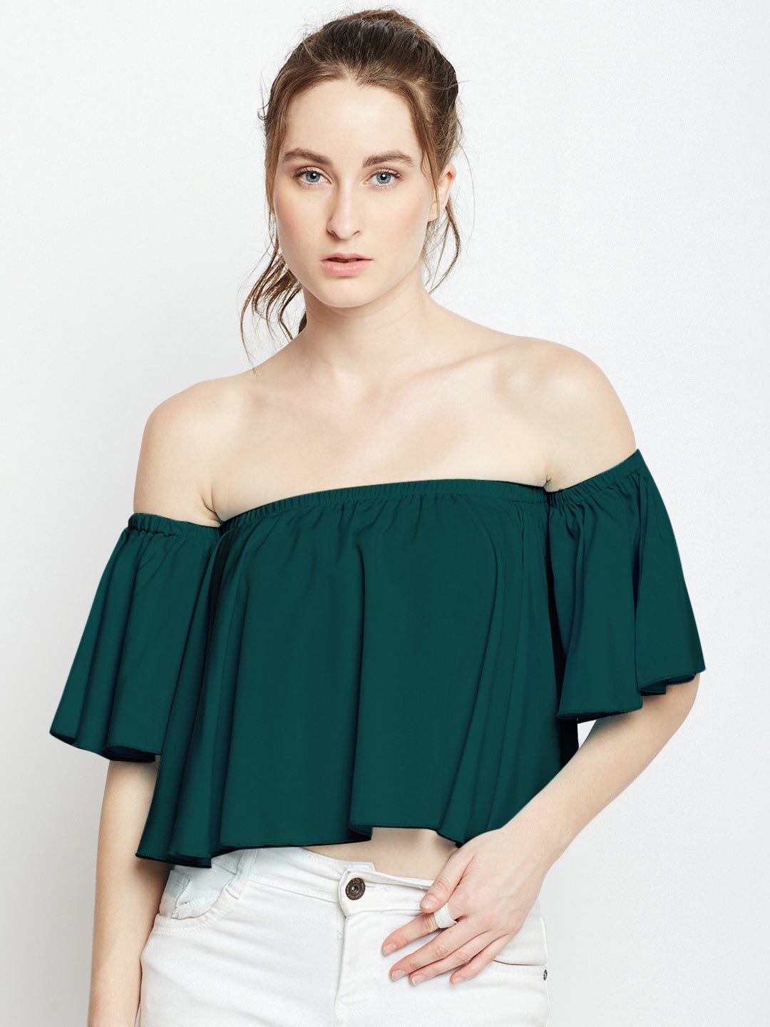 Green Solid Bardot Top
