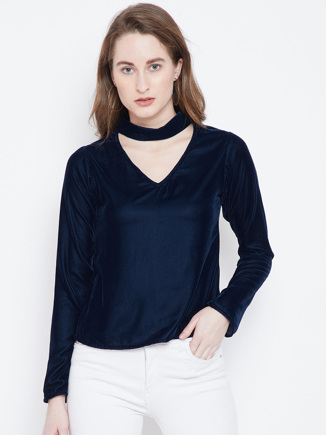 Berrylush Navy Blue Velvet A-Line Top
