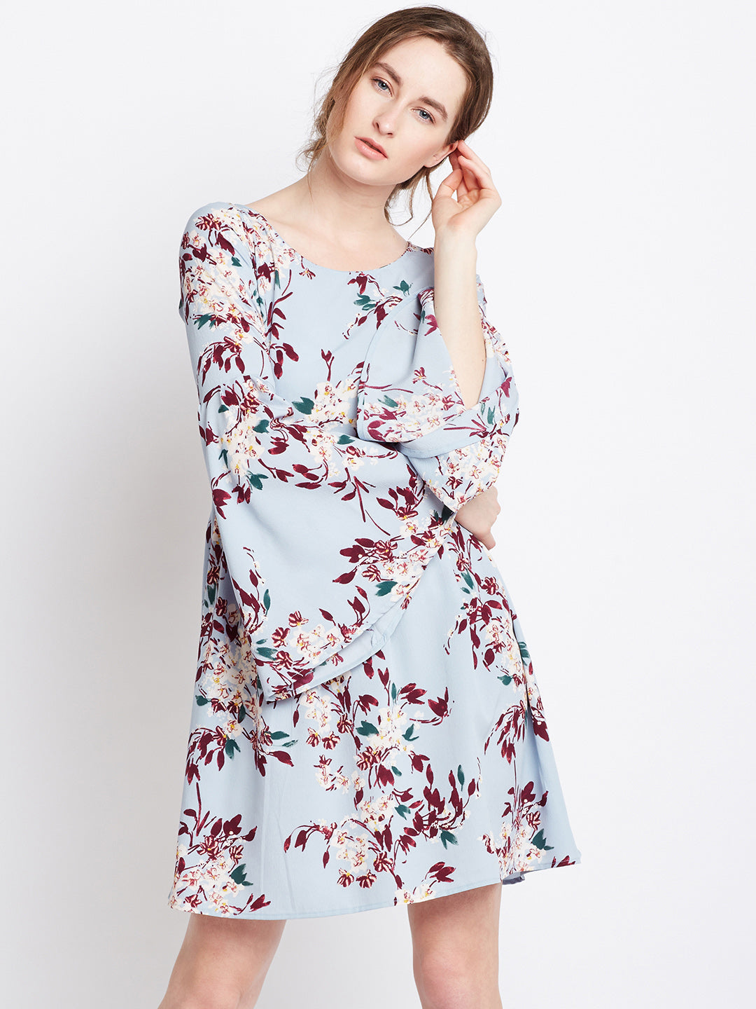 Blue Flared Sleeves A-Line Dress - Berrylush