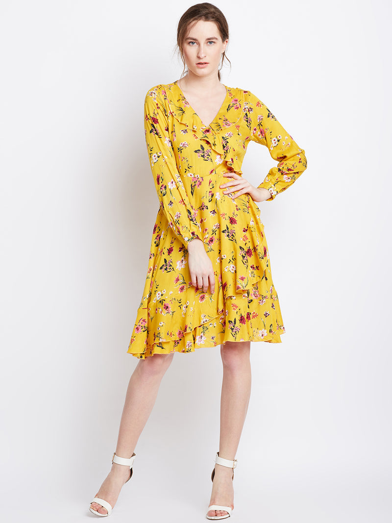 Yellow Printed Fit and Flare Dress