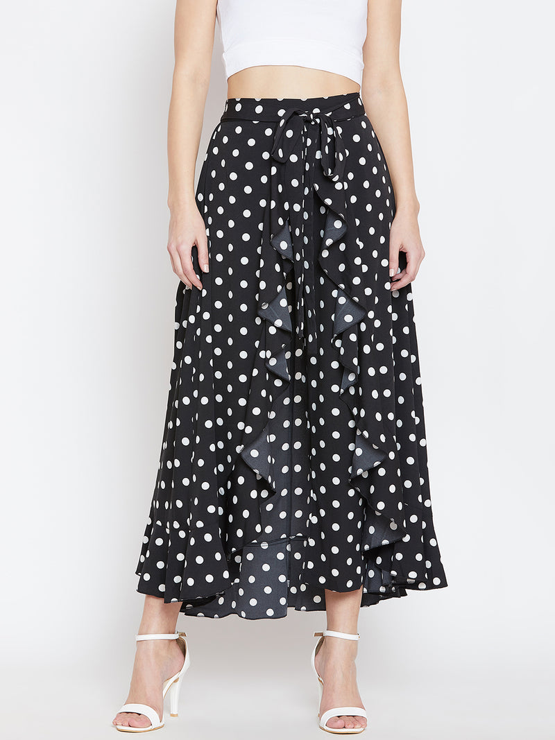 Berrylush Women Black & White Printed Flared Maxi Skirt with attached Palazzo