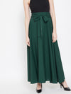 Berrylush Women Green Solid Bow-Tie High-Waist Maxi Skirt