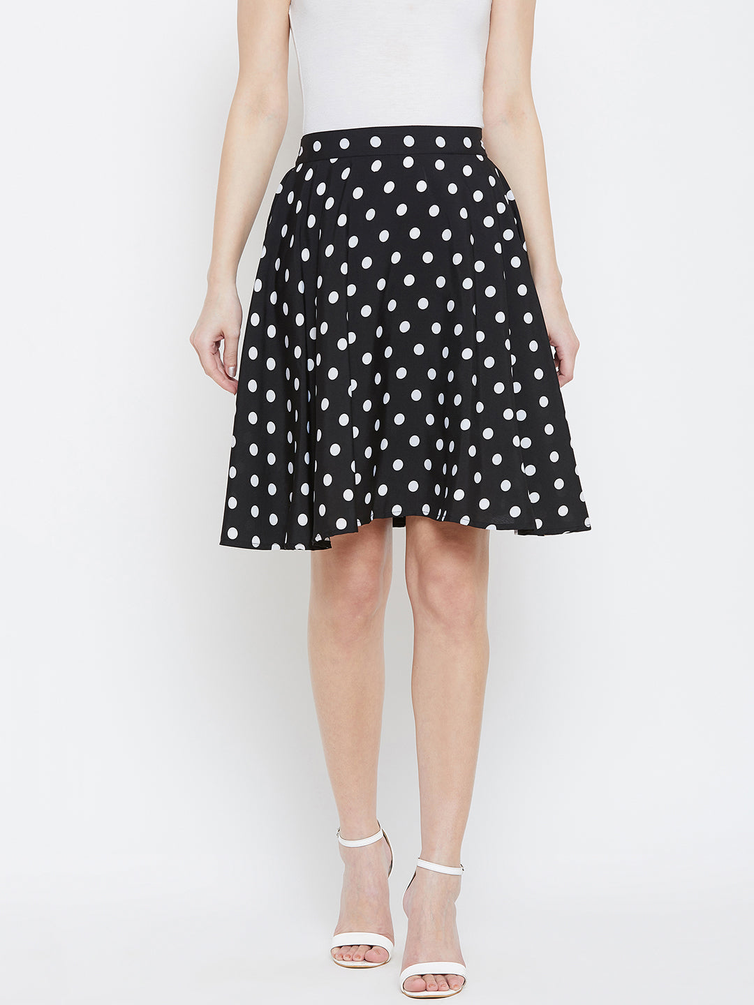 circular polka dot skirt with elasticated waist