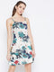 Berrylush Women Multi-Color Botanical Print Shoulder-Strap Dress