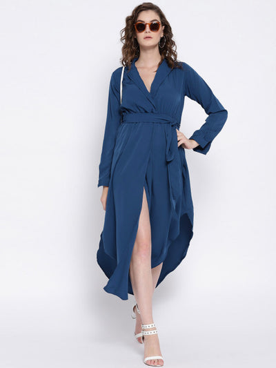 Blue Solid Empire Dress