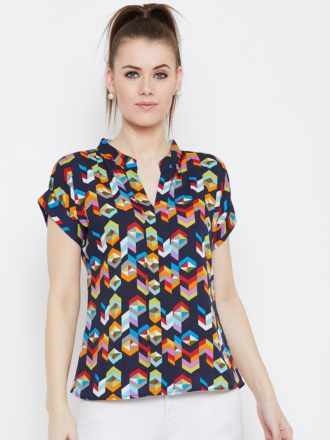 Multicolor geometrical print stand collar top