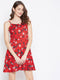 Berrylush Women Red & White Printed Fit and Flare Dress