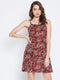Berrylush Women Maroon & White Floral Printed Fit and Flare Dress