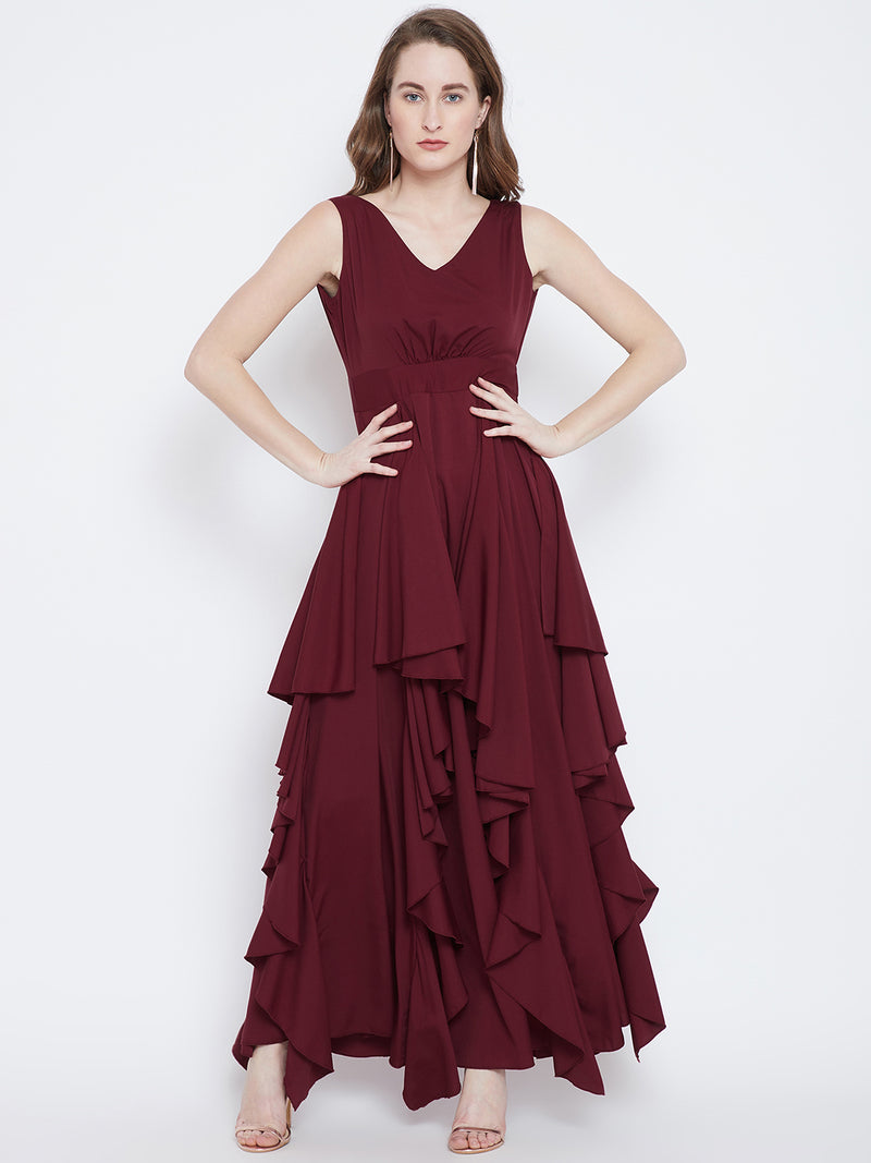 Berrylush Maroon Solid Maxi Dress