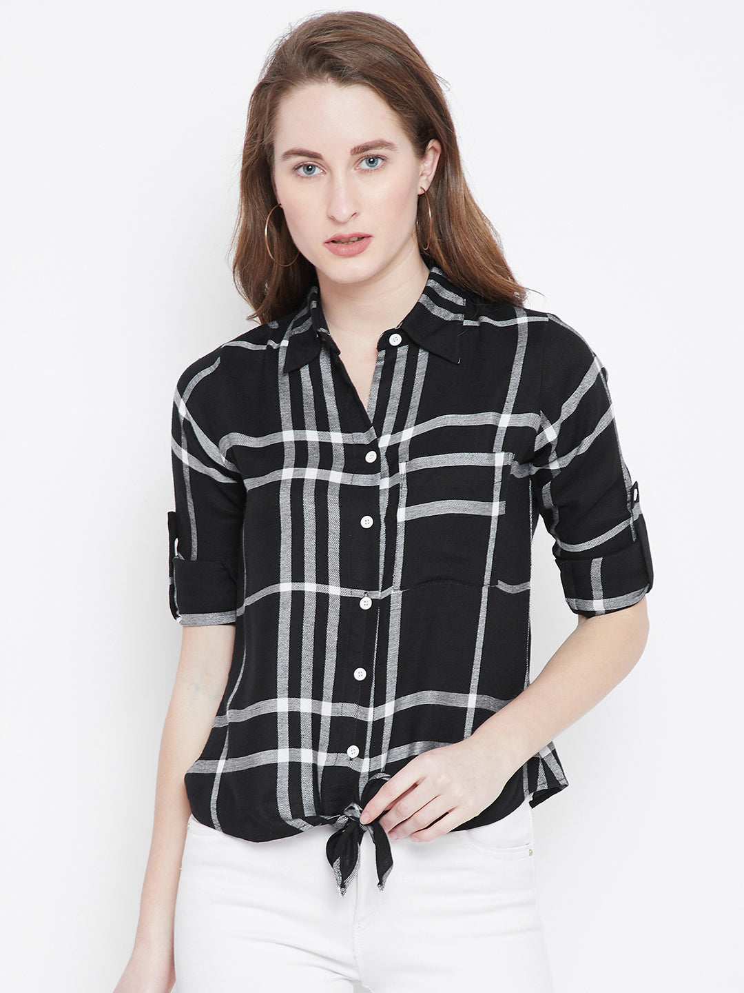 Black Checked Shirt Style Top