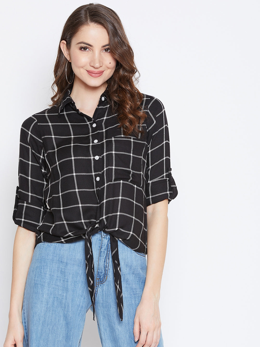 Black Checked Tie-Knot Full Sleeve Shirt