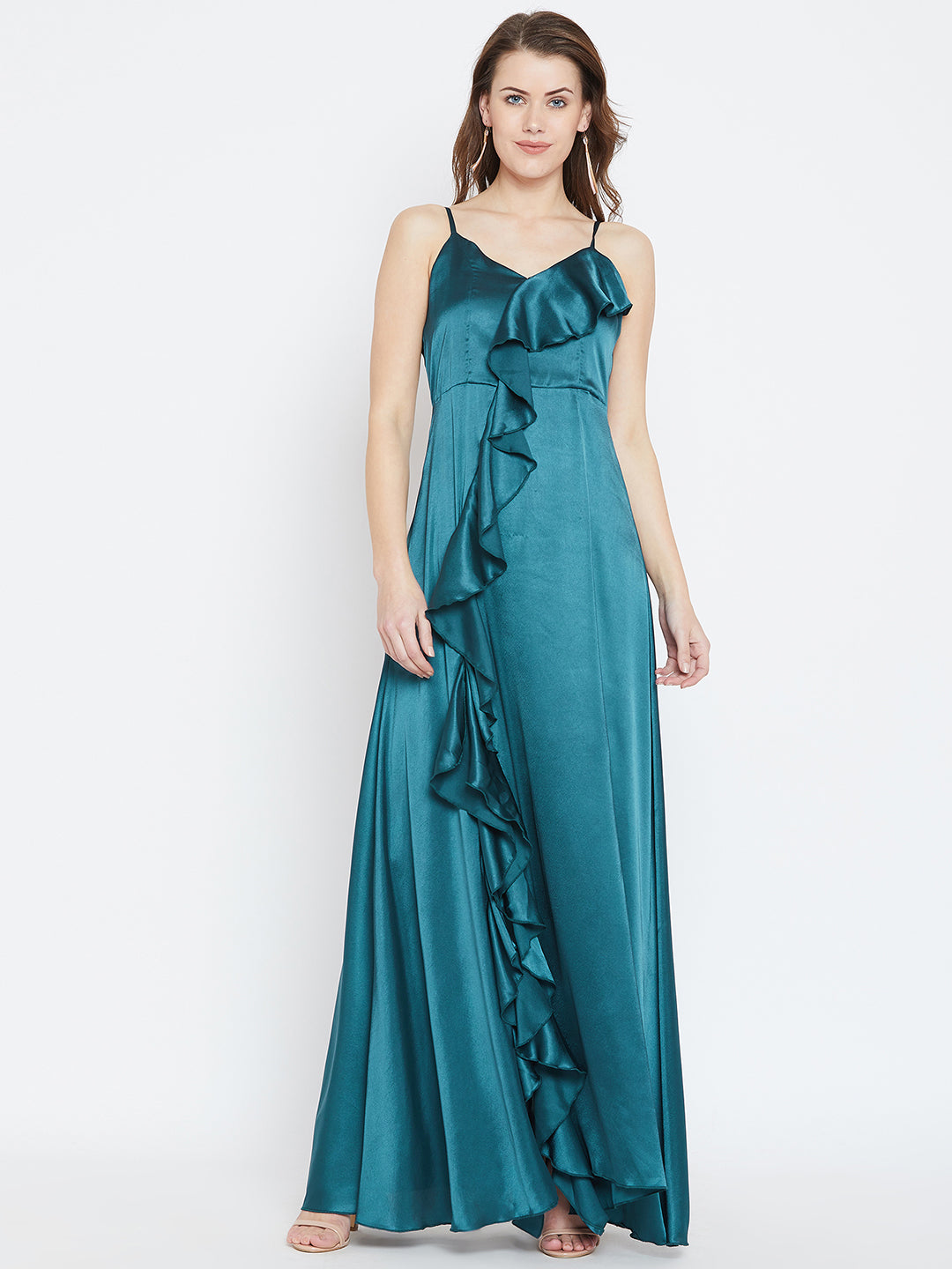 Teal Blue Solid Maxi Dress