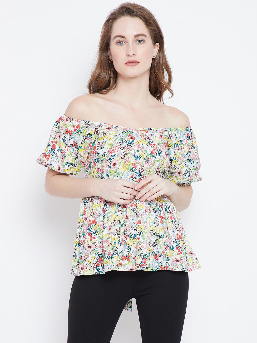 Berrylush Women White Floral Off Shoulder Top