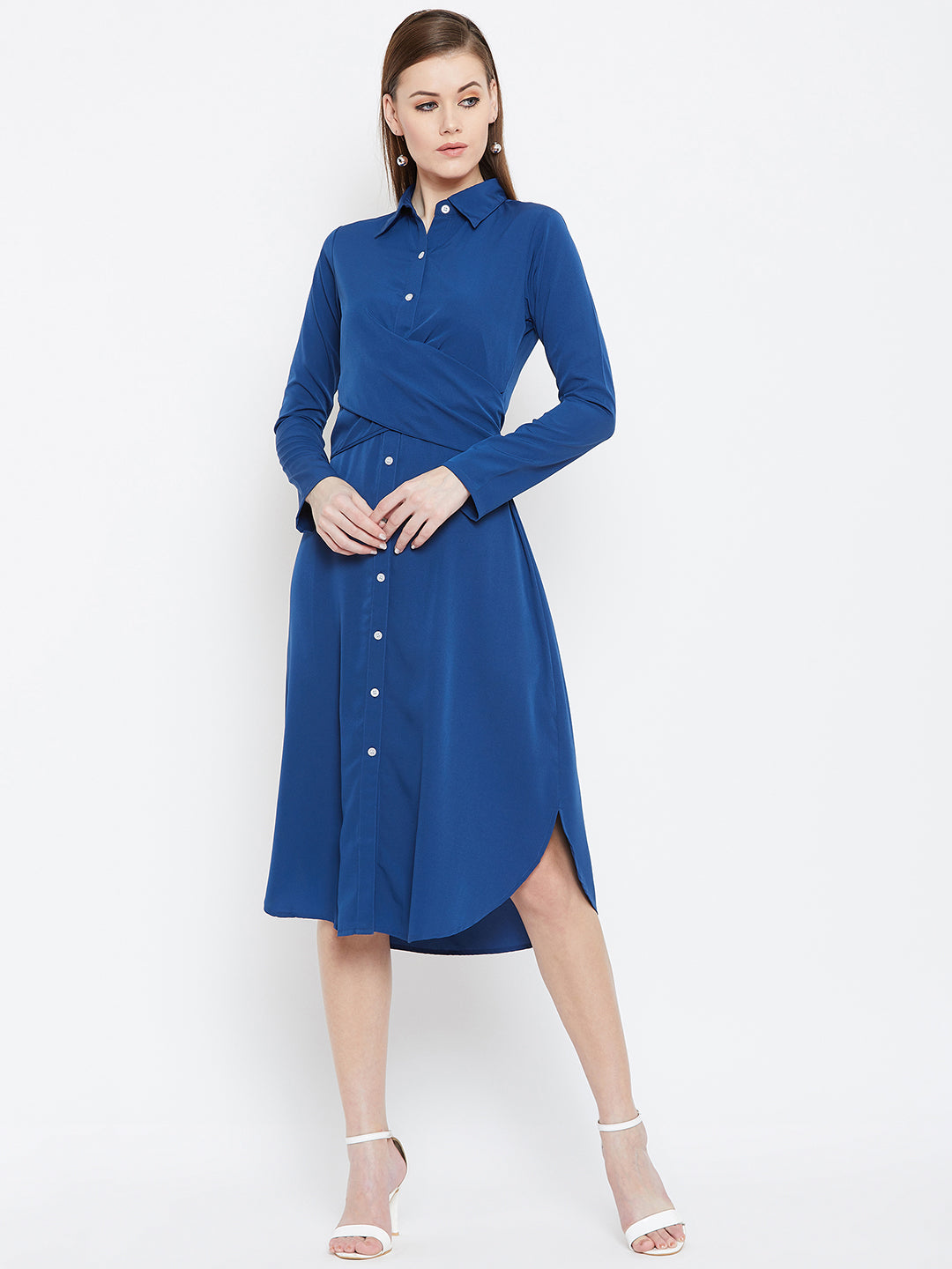 Berrylush Women Blue Shirt Dress