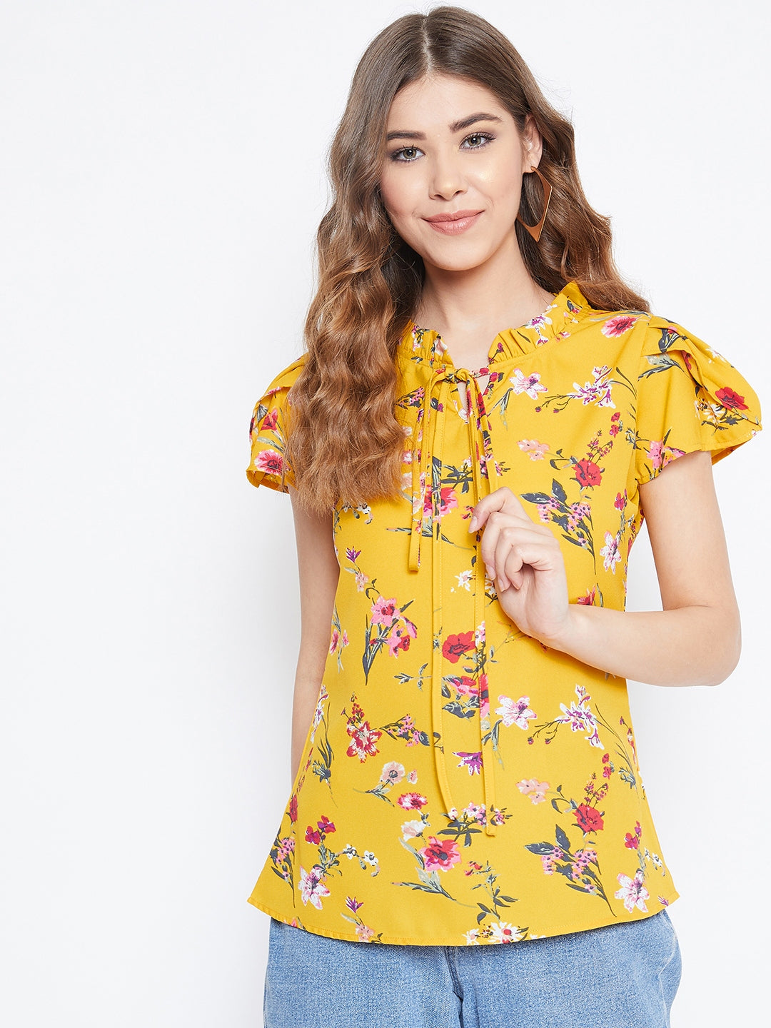 Berrylush Women Yellow Floral Printed Top