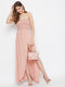 Berrylush Women Pink Front Slit Smocked Maxi Dress