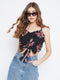 Berrylush Women Black Floral Crop Top