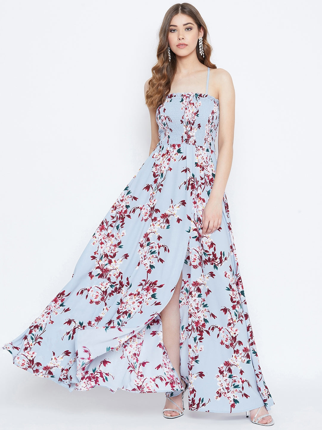 Berrylush Women Blue Floral Print Shoulder Strap Smocked Maxi Dress