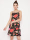 Berrylush Black Floral Print Fit and Flare Mini Dress