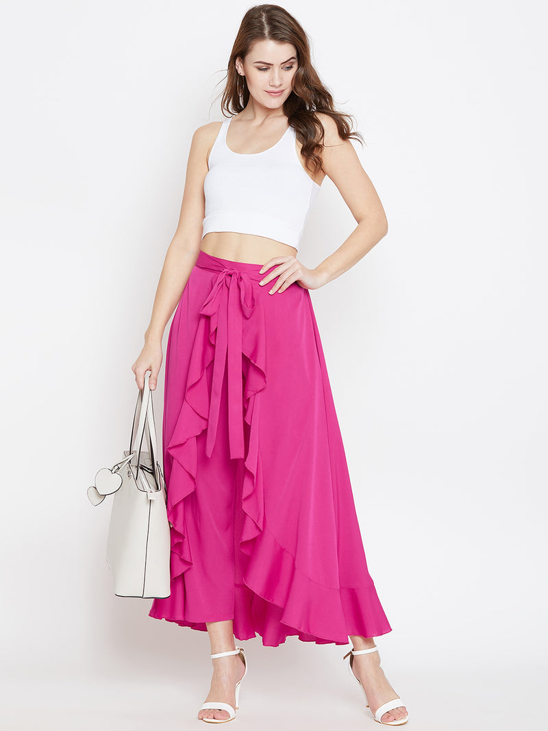 Berrylush Women Pink Solid Ruffled Wrap Maxi Skirt with Attached Palazzo
