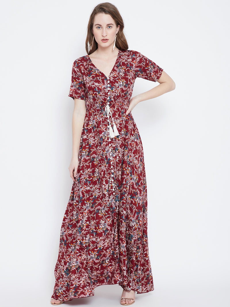 Berrylush Maroon & White Printed Maxi Dress