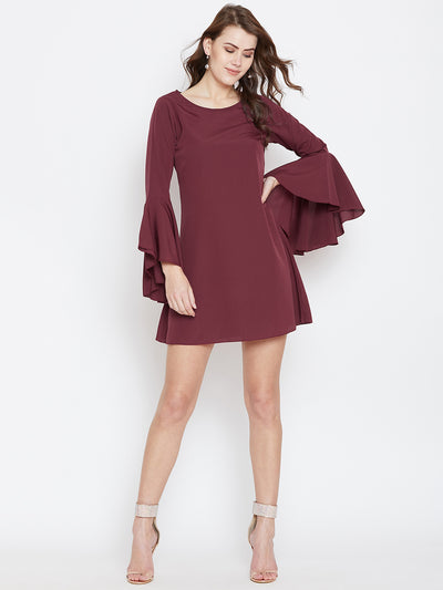 Maroon Solid A-Line Dress - Berrylush