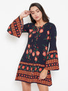 Berrylush Women Navy Blue & Orange Printed A-Line Dress