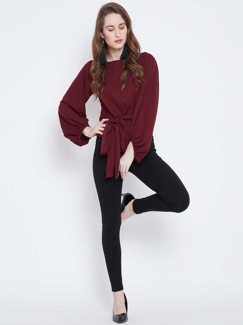 Berrylush Women Maroon Solid A-Line Top