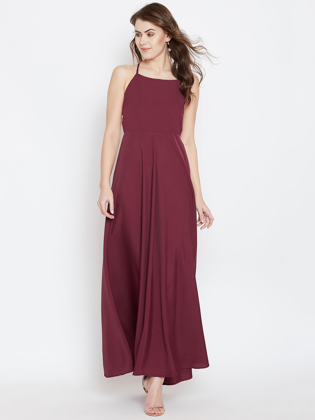 Maroon Solid Maxi Dress