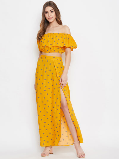 Berrylush Yellow and Grey Polka Dots Top with Skirt