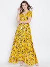 Yellow Printed Maxi Dress