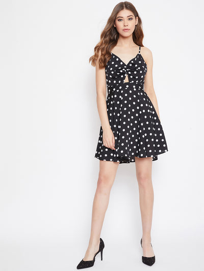 Black Polka Dots Fit and Flare Dress